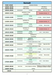 Organisation PSX #3 2018-Planning Samedi PSX